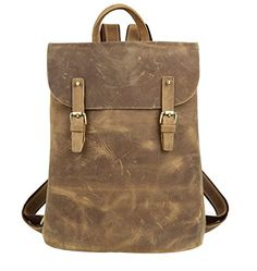 Genda Genuine Leather Retro Rucksack Travel Backpack College Bag >>> You can get more details by clicking on the image. Retro Fashion, Mens Fashion, Handbags Uk, College Bags, Men's Backpacks, Distressed Leather, Travel Backpack, Leather Backpack, Retro Style