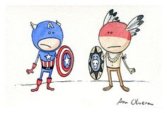 If Captain America is trully american, why doesn't he resemble more the original americans?  by Ana Oliveira