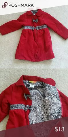 Dressy red coat Vibrant red, this item was gently used, no stains or tears. Coming from a smoke free home. Will make your little girl looking cute for the coming Holidays. Jackets & Coats