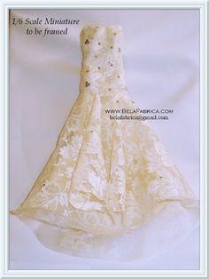 Miniature Frame of your wedding dress Keepsake by Belafabrica 1:6 scale barbie doll scale fashion doll scale frame
