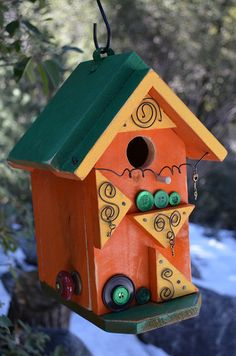 Modern Designer Birdhouse Birds Functional Birdhouses Decorative Bird House Home & Garden Interior Accent Vintage Button Free Shipping