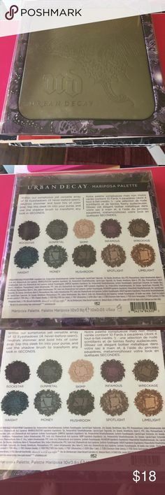 Urban Decay Mariposa Palette NEVER USED Urban Decay Mariposa Palette NEVER USED includes 8 shades rockstar, gunmetal, skimp, infamous, wreckage, haight, money, mushroom, spotlight, limelight. Great for a smoky eye and other cool combinations! Urban Decay Makeup Eyeshadow