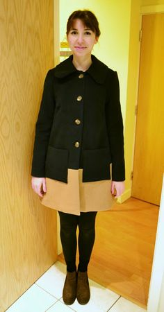 Colour block winter coat in navy blue and camel. Made from Burda Young 7020 pattern. 1960s pea coat style.