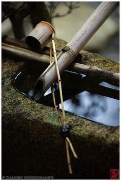 Water basin with bamboo ladle in Myoren-ji temple, Kyoto   Photograph by Damien Douxchamps