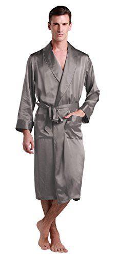 5954558822 LILYSILK Men s Silk Robe Long Tea Length Lapel Collar 22 Momme Pure Silk at  Amazon Men s Clothing store