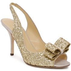 Gold, glitter, sparkle... with these wedding heels you'll feel like Cinderella walking down the aisle (picture Kate Spade)