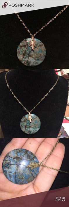 Jasper necklace Handcrafted necklace with Jenny wine natural stone that is a beautiful blue turquoise jasper that has beautiful veining and a bronze chain the necklace measures 20 inches long Plumerias Jewelry Necklaces