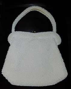 Vintage  LUMERED CORDED BEAD  White Elegant Evening Hand Bag Purse  | Clothing, Shoes & Accessories, Vintage, Vintage Accessories | eBay!