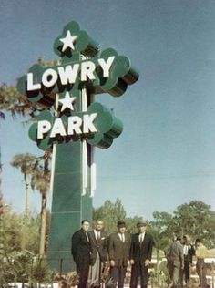 The original Lowry Park sign, made by John F. Cinchett. The photo was taken at the 1961 dedication ceremony of the park