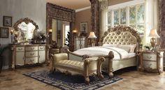 ACME Vendome California King Bed Bone PU & Gold Patina - 22994CK