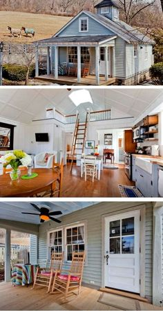 Cozy farmhouse cottage has modern remodeled interior. The farmhouse's exterior features a quaint porch with rocking chairs -- the perfect spot to spend a lazy afternoon. Love it!