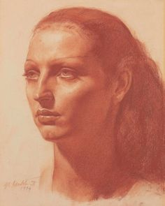 DorindaGerald Leslie Brockhurst, R. Dorinda signed and dated 'GL (lower left) red chalk Drawing Heads, Painting & Drawing, Pencil Portrait, Portrait Art, Classical Realism, Chalk Drawings, Face Drawings, Epic Art, English Artists