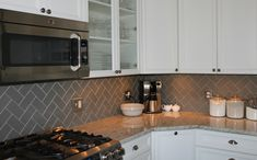 Lush Taupe 3x6 Pale Gray Beige Glass Subway Tile Kitchen Corner Wall Installation