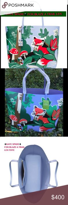 """2X HOST PICK♠️KATE SPADE FOX BLAZE A TRAIL♠️ 2X HPKATE SPADE♠️BLAZE A TRAIL LEN♠️NWT! Beautiful colors adorn this large tote with a fox/squirrel forest scene. Resin backed smooth leather with matching trim. Tote W/open top. Interior zipper pocket and slide pocket. Detachable leather tag. The back of the bag has a multifunction pocket as well(pic2)Gold foil printed Kate Spade New York signature. This bag has so much room! HOST PICK""""BEST IN BAGS""""CHOSEN BY @jennyshoe 9/14/16 & BEST IN BAGS…"""