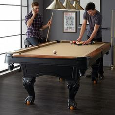 This full-sized pool table is perfect for the game room, rec room or basement. It features an attractive design with classic elements like ball-and-claw legs and pockets with embossed shields for that pro-styling. This quality-constructed pool table will Man Cave Must Haves, Canada Shopping, Pool Table, Online Furniture, Game Room, Decorating Tips, Minnesota, Mattress, Newfoundland