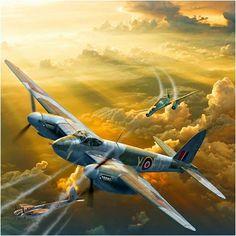 Mosquito vs Me 262 Ww2 Fighter Planes, Ww2 Planes, Fighter Aircraft, Fighter Jets, Ww2 Aircraft, Military Aircraft, The Art Of Flight, De Havilland Mosquito, Military Art