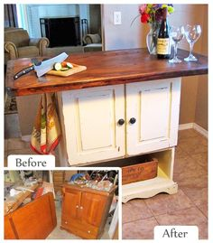 Upcycled Kitchen Island - Ikea has some inexpensive butcher block counter stock that would work well with this idea.