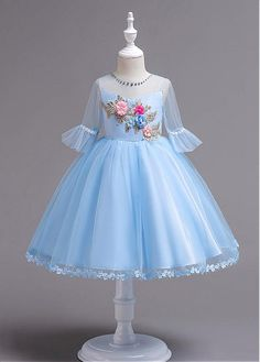 Buy discount In Stock Glamorous Lace & Tulle Jewel Neckline Ball Gown Flower Girl Dress With Handmade Flowers at Dressilyme.com
