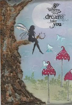 Sometimes the ground is not the best place for our feet. Fairy Dust, Fairy Land, Fairy Tales, Hades Disney, Lavinia Stamps Cards, Fairy Quotes, Enchanted, Mix Media, Fairy Silhouette