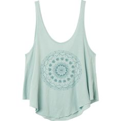 RVCA Women's Skull Mandala T Shirt ($22) ❤ liked on Polyvore featuring tops, shirts, tank tops, cool mint, scalloped shirt, loose tank, loose fitting tank tops, mint green shirt and skull tank tops