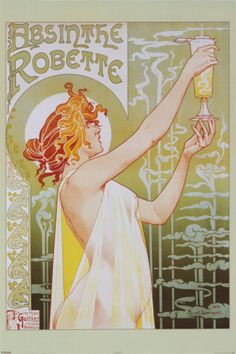 Absinthe Robette poster by Privat Livemont. An iconic art nouveau poster reproduced a million times because of its revolutionary design and subtle shading. Created 1896, it was one the many large colourful lithographic posters of the time.