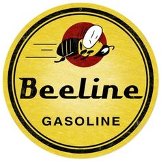 Retro Bee Line Gasoline Tin Sign
