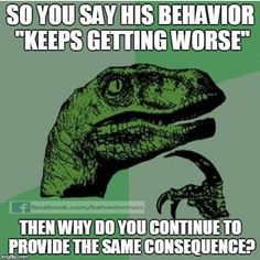 """Repeated behaviors are working for the offender in some way. Many """"consequences"""" are actually unintended reinforcers. (-picture only-)"""
