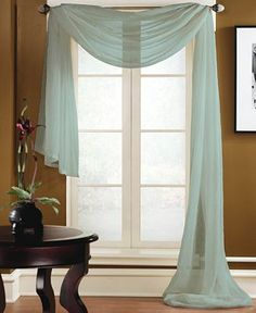 Miller Curtains Sheer Preston Rod Pocket x Scarf Valance - Window Treatments - For The Home - Macy's Scarf Curtains, Window Scarf, No Sew Curtains, Sheer Curtains, Valance Curtains, Valances, Curtain Panels, Blue Curtains, Drapery
