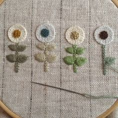 Embroidery of simple but lovely flowers Hand Work Embroidery, Embroidery Needles, Floral Embroidery, Cross Stitch Embroidery, Embroidery Patterns, Creative Textiles, Knitting Stiches, Blackwork, Needlework