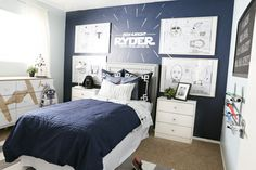 Star Wars inspired boys room with Stars Wars blueprints and custom vinyl decal from Classyclutter.net