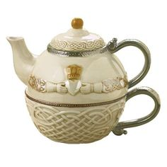 Grasslands Road Celtic 16-Ounce Claddagh Stacking Tea For One Teapot with Teacup Gift Boxed