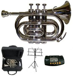 Merano B Flat Silver Pocket Trumpet With Case+Metro Tuner+Black Music Stand, 2015 Amazon Top Rated Trumpets #MusicalInstruments