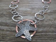 Stunning Starfish Necklace on a large link handmade, mixed metal chain $160. by JoDeneMoneuseJewelry