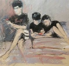 "January's Noteworthy Pastels: Anne Strutz, ""Hanging Out in the 21st Century,"" charcoal and pastel on UArt 600, 10 x 11 in"