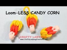 NEW Rainbow Loom-LESS EASY CANDY CORN CHARM-Halloween Series Tutorials by Crafty Ladybug/How to