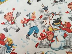 Vintage Christmas Wrapping Paper Children by TheGOOSEandTheHOUND