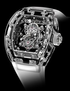 """Richard Mille's Million-Dollar-Plus Sapphire-Cased Watches - See more about them in Ariel's piece in Forbes """"Close to the top-end of the luxury watch market are these three highly limited production Richard Mille watches with cases produced from sapphire crystal. Each costs over a million dollars..."""" See more Richard Mille watches we've covered and read about our recent manufacture visit to learn about the brand in depth: http://www.ablogtowatch.com/watch-brands/richard-mille/"""