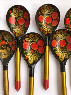 Rustic wooden spoon Vintage old kitchen decor utensils Handmade Handcrafted antique Cutlery Painted Hohloma Wooden spoons USSR Russian Folk