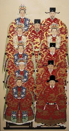 """Chinese ancestral painting depicting many generations dressed in their traditional clothing of the Qing Dynasty. The red ornate robes are decorated with gold painted sinuous dragons. The women are wearing elaborate crowns with kingfisher feathers. It dates to the early 20th century. Size: 87"""" x 41"""".    info@dynastycollections.com"""