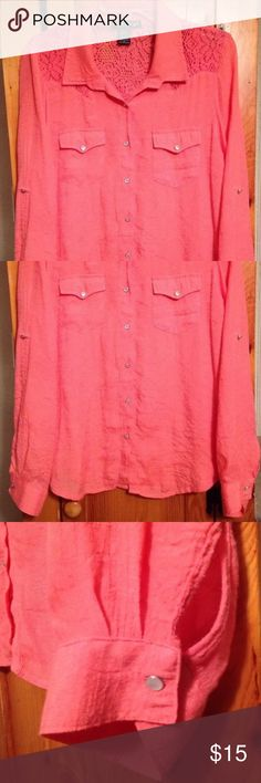 "NWOT LIVING DOLL PINK-CORAL LACE BLOUSE Women's XL New without tags! Gorgeous and super cute pink-coral (pinkish orange) long sleeve lace back button front shirt top by LIVING DOLL! Size women's XL. Chest: 20"" across lying flat pit to pit Length: 26"" in front, 28"" in back Material: 65% rayon, 35% polyester, lace on back is 100% polyester LIVING DOLL Tops Button Down Shirts"