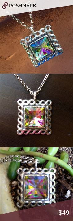"""Large Sterling Princess cut Mystic Topaz  Vintage Sterling silver 18"""" necklace features a princess cut mystic topaz and lace design Sterling setting!  Stamped 925. Jewelry Necklaces"""