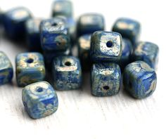 Dark Blue Cube beads, Picasso travertin luster, czech pressed glass beads - 5mm - 20Pc - 2548 by MayaHoney on Etsy https://www.etsy.com/listing/256741253/dark-blue-cube-beads-picasso-travertin