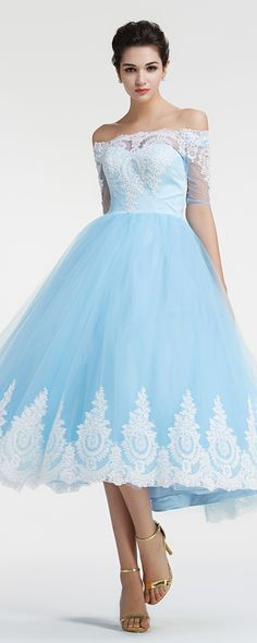 Off the shoulder vintage prom dresses with sleeves ball gown prom dresses tea length homecoming dresses