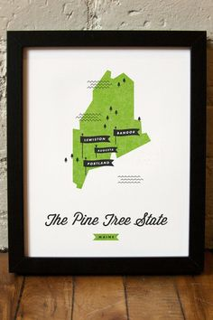 Maine State Map by These are Things on @HauteLook