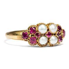 Für meine Venus - Mid-Viktorianischer Gold Ring mit Rubin & Naturperlen, datiert 1866 #hoferantikschmuck #antik #schmuck #antique #jewellery #jewelry
