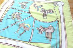 Marc Laury Scarf Equestrian Saddles Aqua Light by CoconutRoad, $15.00