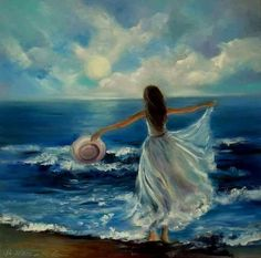 (notitle) – Gharib Makld – Join in the world of pin Pictures To Paint, Art Pictures, Oil Painting On Canvas, Painting & Drawing, Woman Painting, Prophetic Art, Beach Art, Portrait Art, Beautiful Paintings