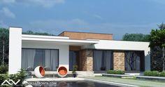 Small Modern House Plans, Modern Small House Design, Modern Villa Design, Minimalist House Design, Modern House Facades, Modern Bungalow House, Bungalow House Plans, Flat Roof House Designs, House Front Design