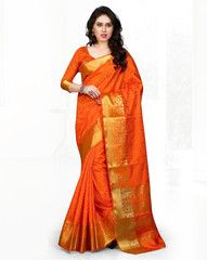 Orange Color Banaras Art Silk Casual Party Sarees : Minakshi Collection  YF-38511