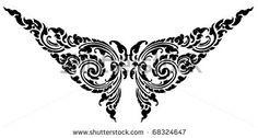 Thai butterfly pattern tattoo design